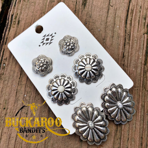 Way Out West Concho Stud Earrings Trio Set