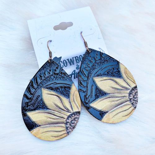 Leather Sunflower Earrings - Black