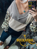 Leopard Color Block Puff Sleeve Top