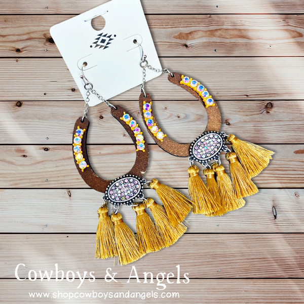 Rhinestone Horseshoe Tassel Earrings - Mustard