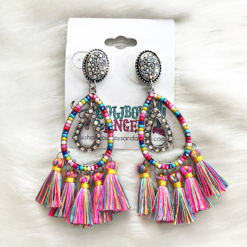 Seed Bead Teardrop Tassel Earrings- Pink