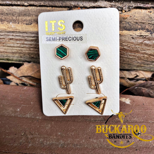 Envy Cactus Trio Earrings Set