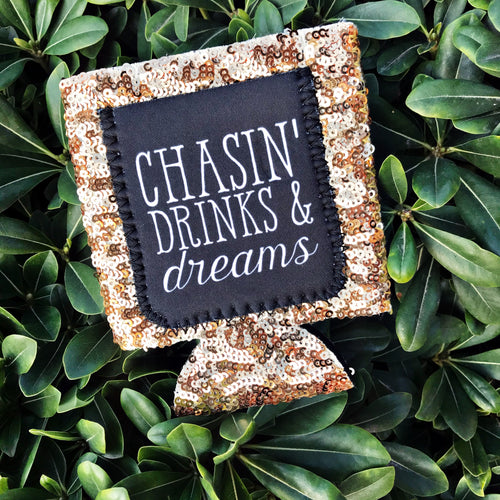 Chasin' Drinks & Dreams Sequin Can Cooler