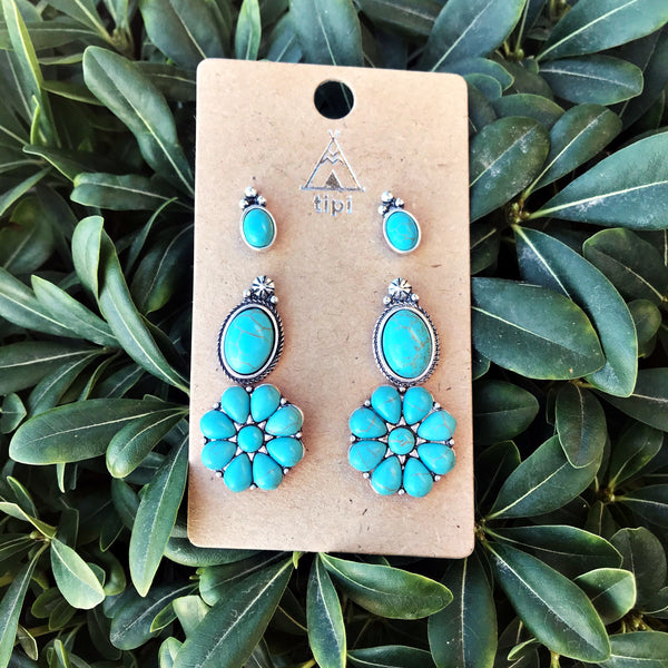 Floral Cowgirl Earring Trio Set