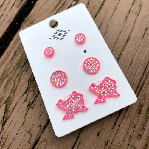 Texas Babe Earring Trio Set - Pink
