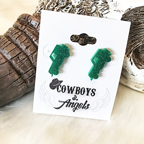 Teal Glitter Jeep Earrings