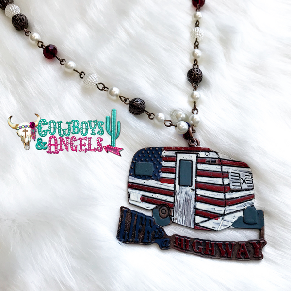 Life is a Highway Camper Necklace