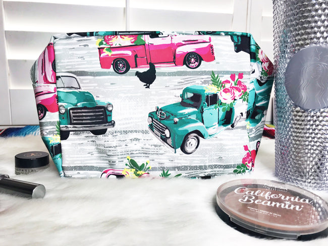 LARGE Vintage Truck Cosmetic Bag