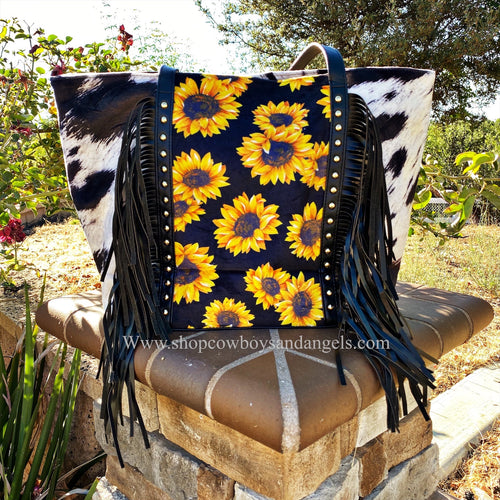 Sunflower & Cow Print Fringe Purse