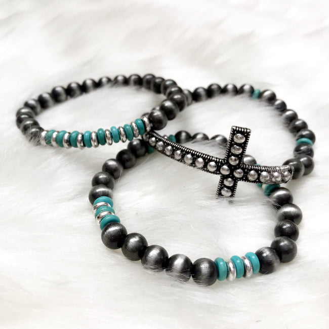 Navajo Cross Stretch Bracelet Stack