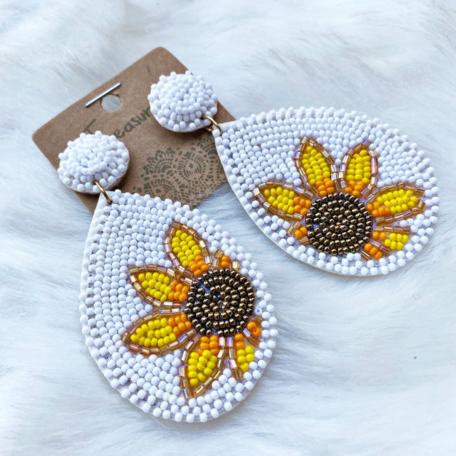 Seed Bead Sunflower Teardrop Earrings - White