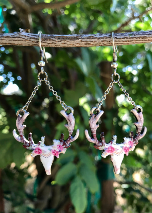Rustic Chic Dangle Deer Earrings