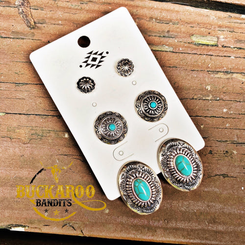My Maria Concho Stud Trio Earrings Set - Turquoise