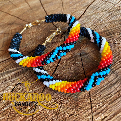 Beaded Tribal Hoop Earrings