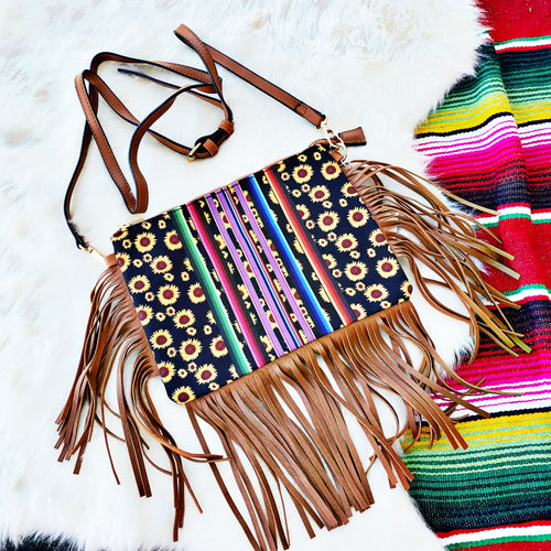 Serape Sunflower Fringe Crossbody