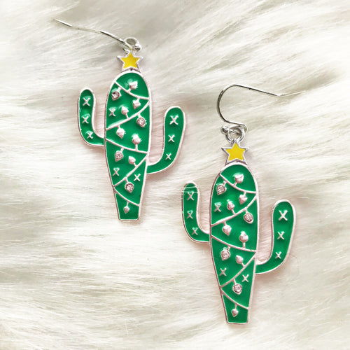 Christmas Cactus Rhinestone Earrings