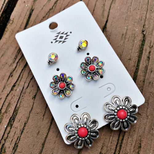 Flower Trio Earring Set - Red