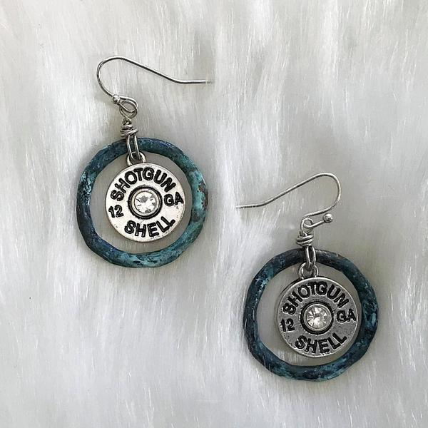 Locked & Loaded Shotgun Shell Earrings - Patina