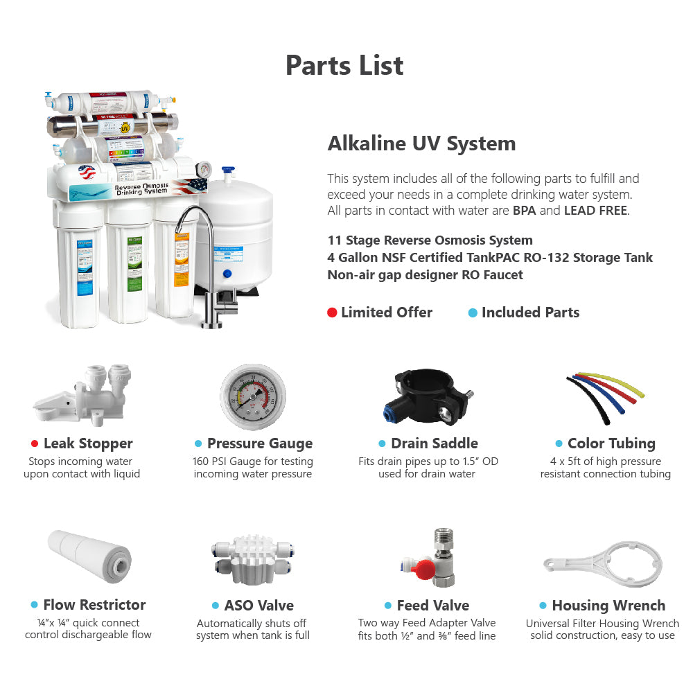 11 Stage Reverse Osmosis Water Filter System Ultraviolet