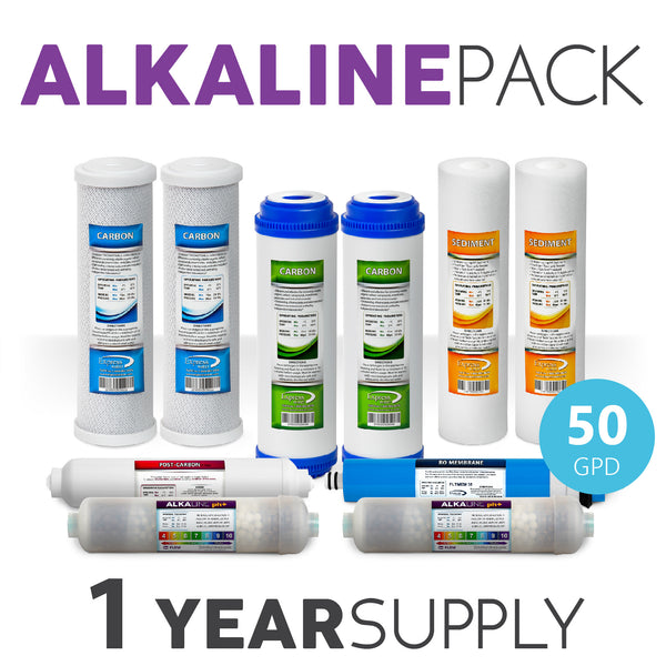 Express Water 1 Year Alkaline System Replacement Filter Set 10 Total Filters With 50 Gpd Membrane