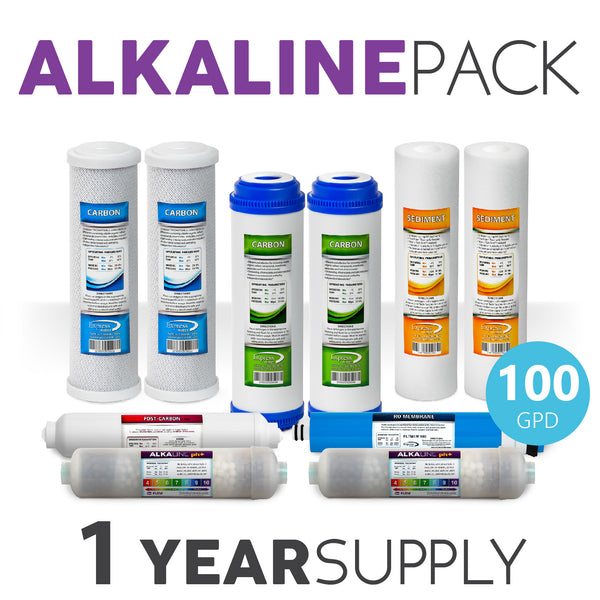 Express Water 1 Year Alkaline System Replacement Filter Set 10 Total Filters With 100 Gpd Membrane