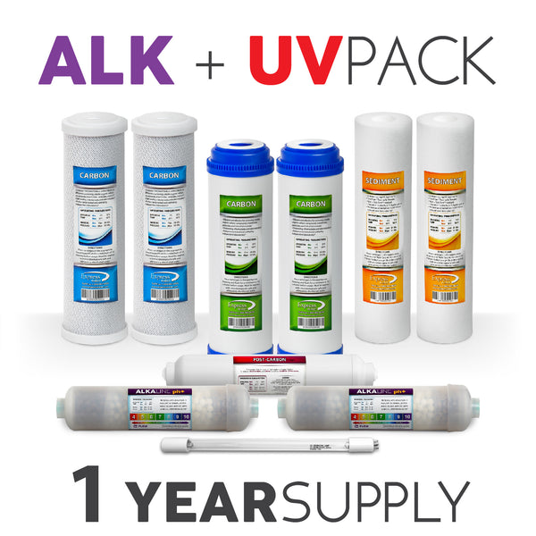 Express Water 1 Year Alkaline + UV BULB System Replacement Filter Set 10 Total Filters