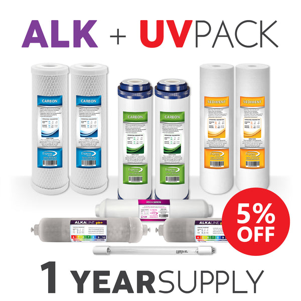 1 Year Alkaline + UV BULB System Replacement Filter Set