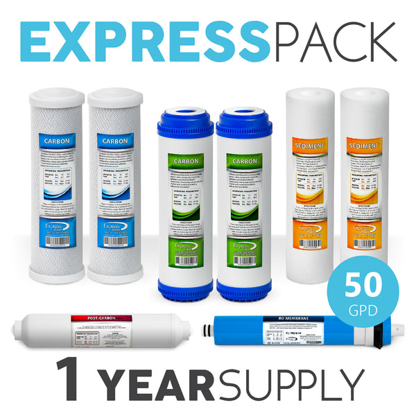 Express Water 1 Year 5 Stage Reverse Osmosis Replacement Filter Kit 8 Total Filters 50 Gpd Membrane - Express Water Manufacturer of Reverse Osmosis Drinking and UV Water Filter Systems, Parts & Accessories
