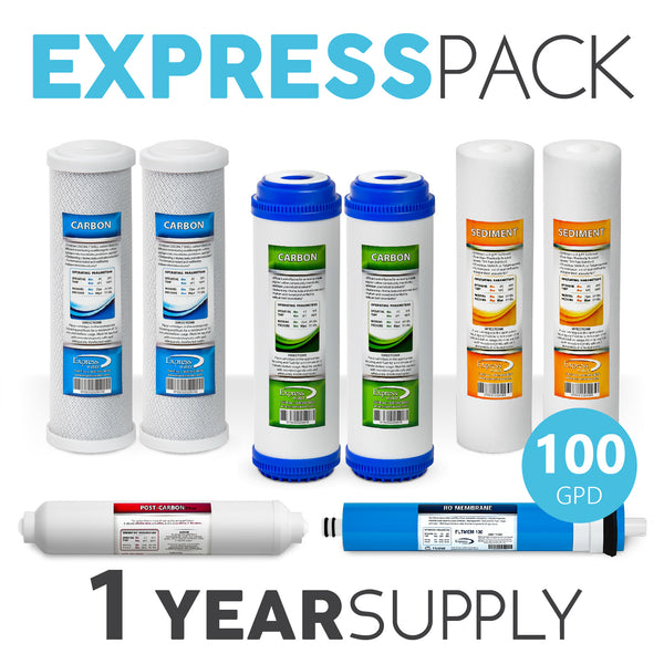 Express Water 1 Year 5 Stage Reverse Osmosis Replacement Filter Kit 8 Total Filters + 100 Gpd Membrane - Express Water Manufacturer of Reverse Osmosis Drinking and UV Water Filter Systems, Parts & Accessories