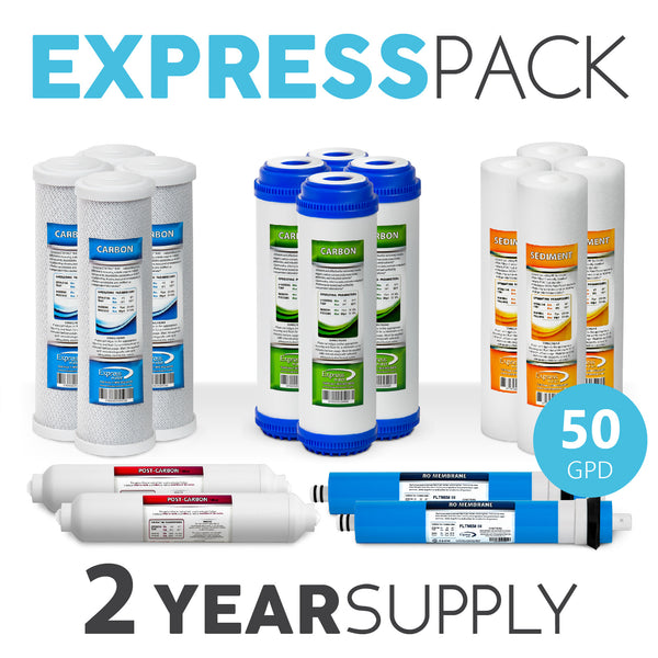 Express Water 2 Year 5 Stage Reverse Osmosis Replacement Filter Kit 16 Total Water Filter Cartridges 50 Gpd Membrane - Express Water Manufacturer of Reverse Osmosis Drinking and UV Water Filter Systems, Parts & Accessories