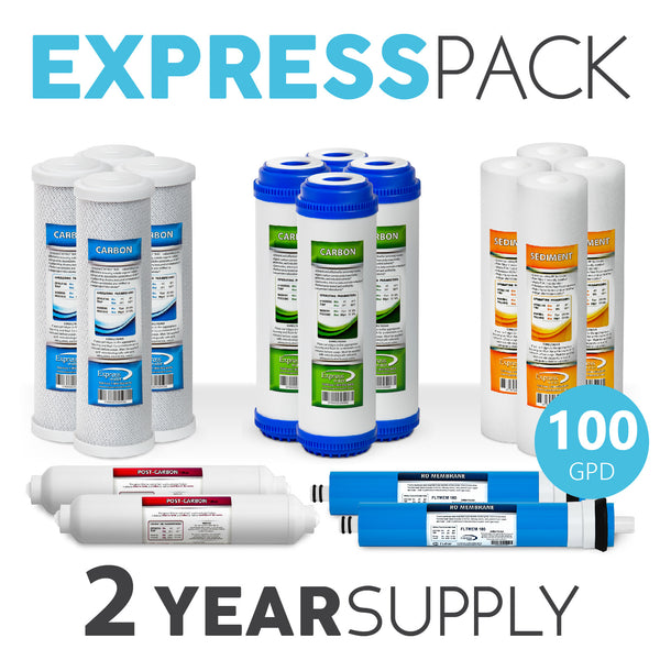 Express Water 2 Year 5 Stage Reverse Osmosis Replacement Filter Kit 16 Total Water Filter Cartridges 100 Gpd Membrane - Express Water Manufacturer of Reverse Osmosis Drinking and UV Water Filter Systems, Parts & Accessories