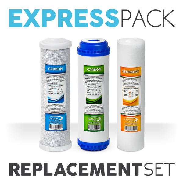 Express Water Reverse Osmosis Replacement Filter Kit 3 Total Water Filter Cartridges Inline Carbon Cto Sediment - Express Water Manufacturer of Reverse Osmosis Drinking and UV Water Filter Systems, Parts & Accessories