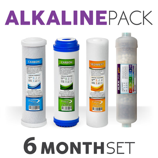 Express Water Alkaline System Replacement Filter Set 4 Total Filters Alkaline Carbon Cto Gac Sediment