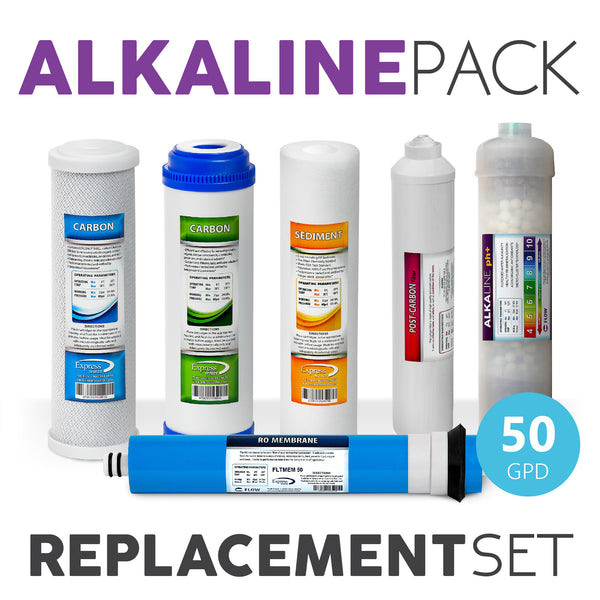Express Water Alkaline System Full Replacement Filter Set 6 Total Filters With 50 Gpd Membrane