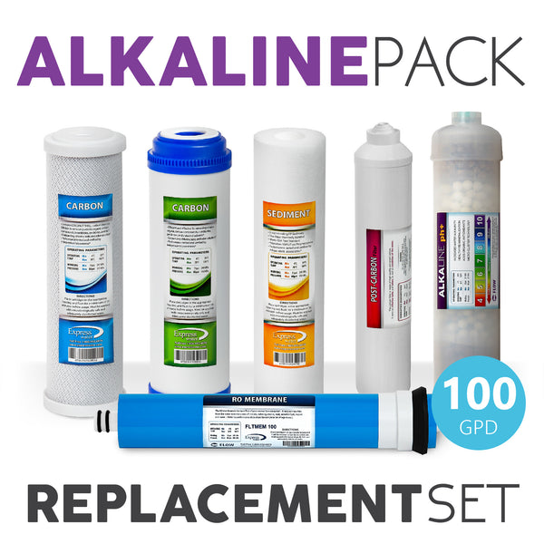 Express Water Alkaline System Full Replacement Filter Set 6 Total Filters With 100 Gpd Membrane
