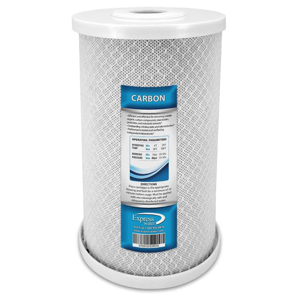 "Whole House Big Blue Carbon Block Filter 5 Micron 4.5"" X 10"" Coconut Shell Carbon - Express Water Manufacturer of Reverse Osmosis Drinking and UV Water Filter Systems, Parts & Accessories"