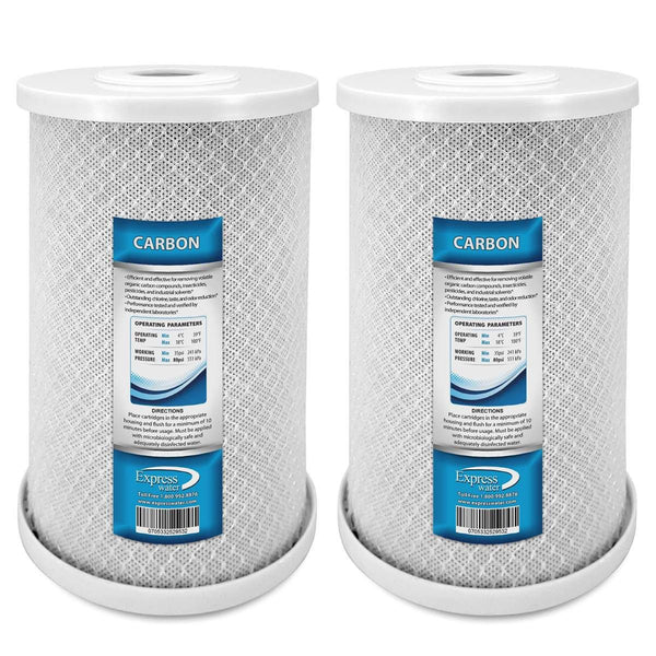 "Express Water Whole House Big Blue Carbon Block CTO Filter 5 Micron Coconut Shell Carbon 4.5"" x 10"" - 2 Pack - Express Water Manufacturer of Reverse Osmosis Drinking and UV Water Filter Systems, Parts & Accessories"