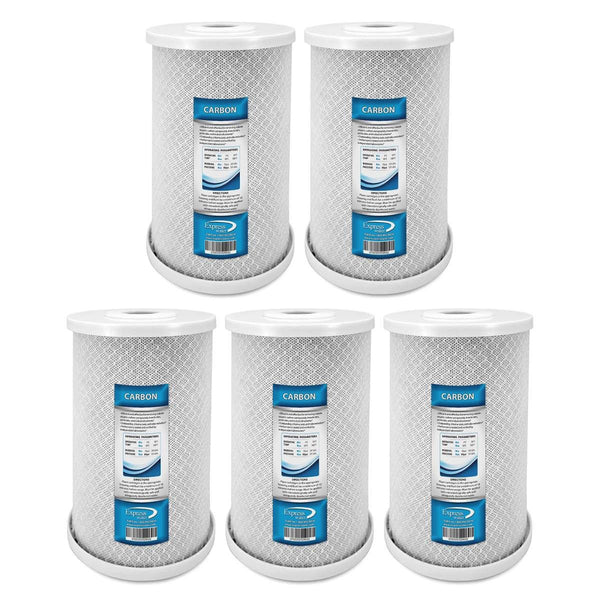"Whole House Big Blue Carbon Block Filter 5 Micron 4.5"" x 10"" Coconut Shell Carbon -  5 Pack - Express Water Manufacturer of Reverse Osmosis Drinking and UV Water Filter Systems, Parts & Accessories"