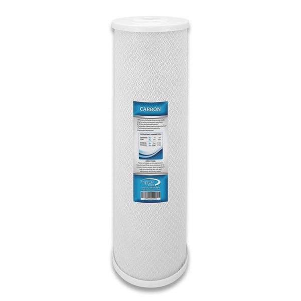 Express Water Carbon CTO Big Blue Whole House Water Filter With Block Activated Carbon 20-inch Coconut