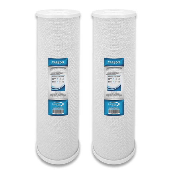 2 Pack CARBON CTO Big Blue Whole House Water Filter with Block Activated Carbon, 20-Inch COCONUT - Express Water Manufacturer of Reverse Osmosis Drinking and UV Water Filter Systems, Parts & Accessories