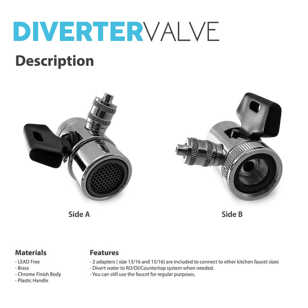 Diverter Valve 1 Way Faucet Adapter