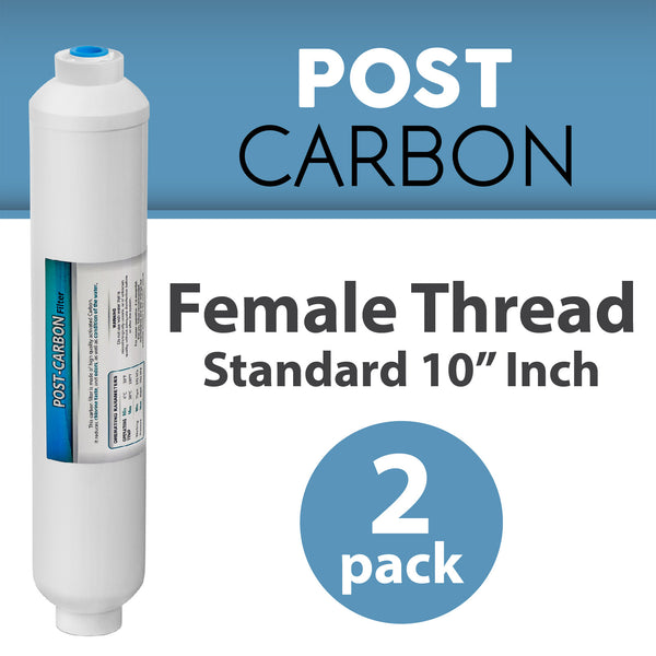 2 PACK Female Threaded INLINE COCONUT Carbon GAC WATER Post FILTER REVERSE OSMOSIS standard 10""