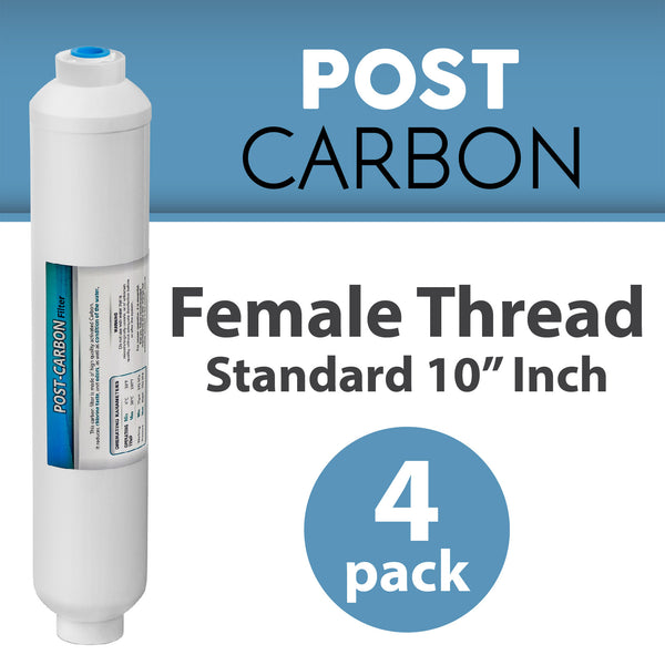 4 PACK Female Threaded INLINE COCONUT Carbon GAC WATER Post FILTER REVERSE OSMOSIS standard 10""