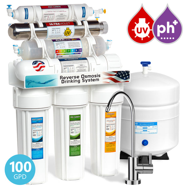 Express Water 11 Stage UV Ultraviolet + Alkaline + Reverse Osmosis Home Drinking Water Filtration System 100 GPD Modern Faucet - Express Water Manufacturer of Reverse Osmosis Drinking and UV Water Filter Systems, Parts & Accessories