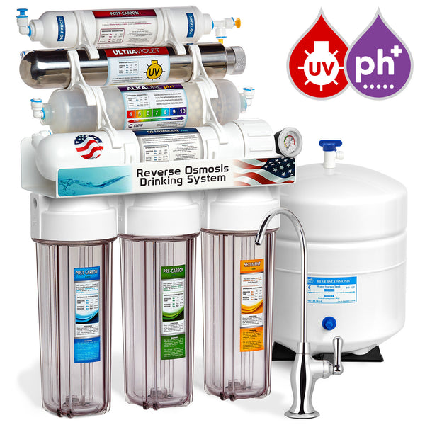 Express Water 11 Stage UV Ultraviolet + Alkaline + Reverse Osmosis Home Drinking Water Filtration System 100 GPD Deluxe Faucet Clear Housing Pressure Gauge