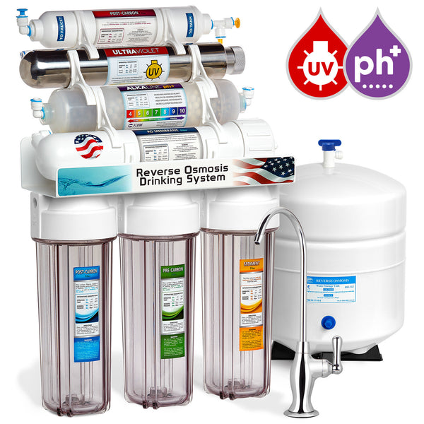 Express Water 11 Stage UV Ultraviolet + Alkaline + Reverse Osmosis Home Drinking Water Filtration System 100 GPD Deluxe Faucet Clear Housing - Express Water Manufacturer of Reverse Osmosis Drinking and UV Water Filter Systems, Parts & Accessories