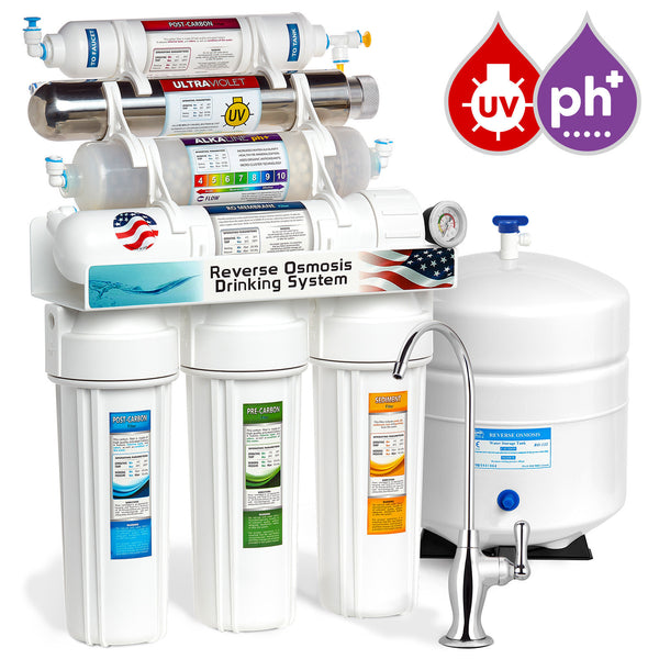 Express Water 11 Stage UV Ultraviolet + Alkaline + Reverse Osmosis Home Drinking Water Filtration System 100 GPD Deluxe Faucet Pressure Gauge