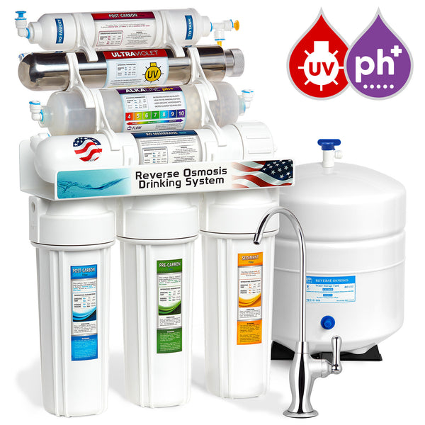 Express Water 11 Stage UV Ultraviolet + Alkaline + Reverse Osmosis Home Drinking Water Filtration System 100 GPD Deluxe Faucet