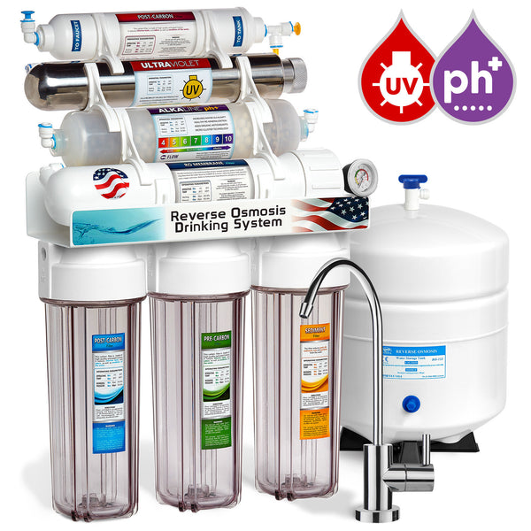 Express Water 11 Stage UV Ultraviolet + Alkaline + Reverse Osmosis Home Drinking Water Filtration System 100 GPD Modern Faucet Clear Housing Pressure Gauge - Express Water Manufacturer of Reverse Osmosis Drinking and UV Water Filter Systems, Parts & Accessories