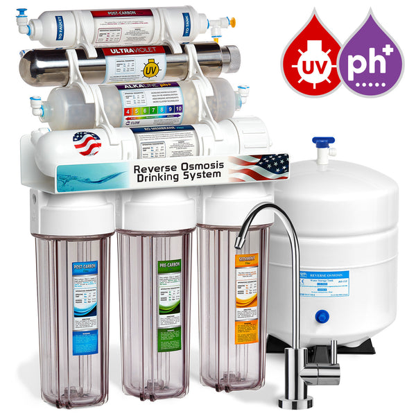 Express Water 11 Stage UV Ultraviolet + Alkaline + Reverse Osmosis Home Drinking Water Filtration System 100 GPD Modern Faucet Clear Housing
